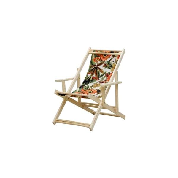 Cadeira De Madeira Preguiçosa Com Braço Estampada