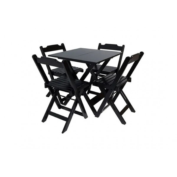 Conjunto de Madeira 70x70 com 4 Cadeiras