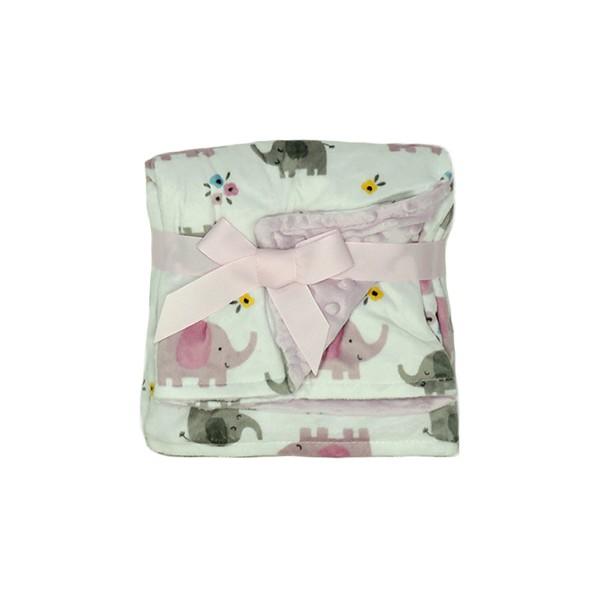 Manta Fleece Dupla Face Bebê Estampada Mini Rosa