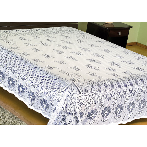 Colcha de Renda floral Casal Branco - Ref. 12001