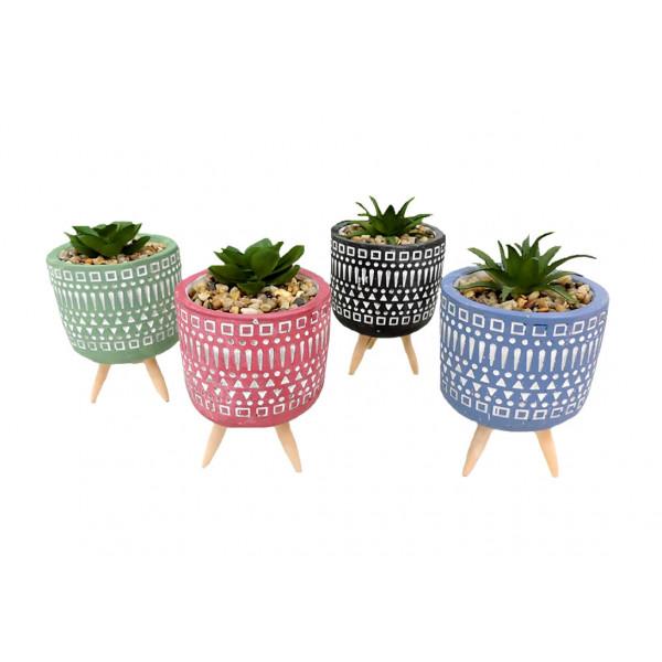 Vaso Decorativo com Tripé e Planta Artificial - Ref. IM51071