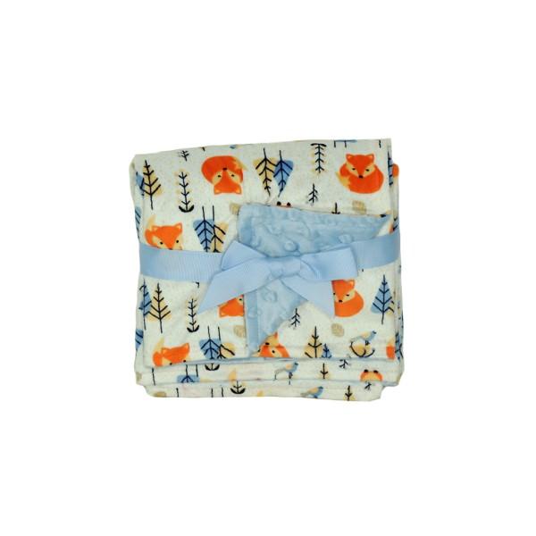 Manta Fleece Dupla Face Bebê Estampada Mini Azul - 5734201
