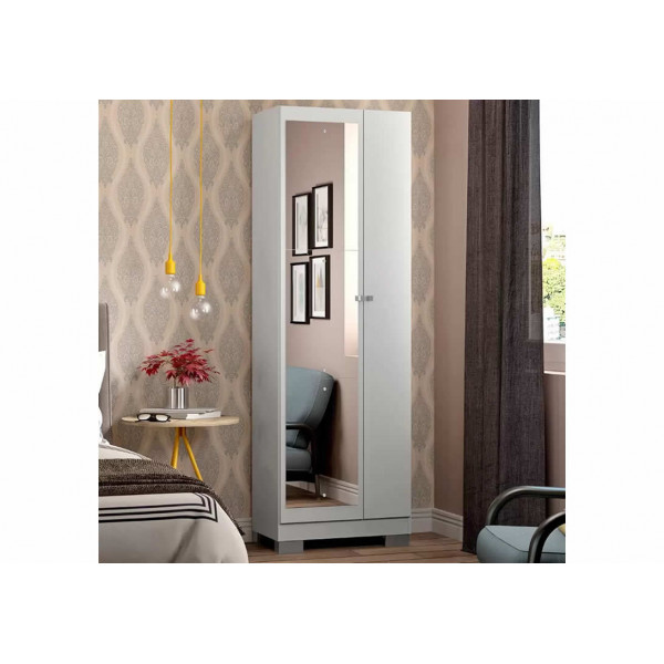 Armário Utilitário Multiuso 2 Portas com Espelho Branco - Ref. 054718110